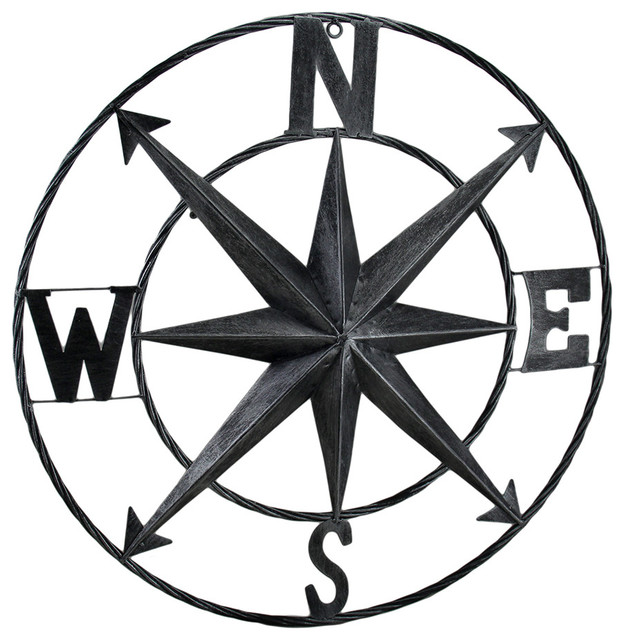 Compass Metal Wall Hanging Rose Beach Style Metal