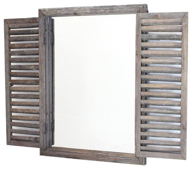 Shuttered Mirror With Wooden Frame Farmhouse Wall