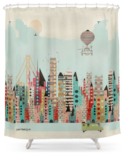 society6 visit san francisco shower curtain contemporary. Black Bedroom Furniture Sets. Home Design Ideas