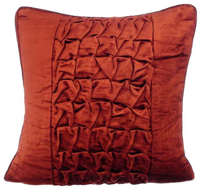 "Textured Knotted Pintucks 12""x12"" Velvet Rust Throw Pillows Cover, Rusty Knots"