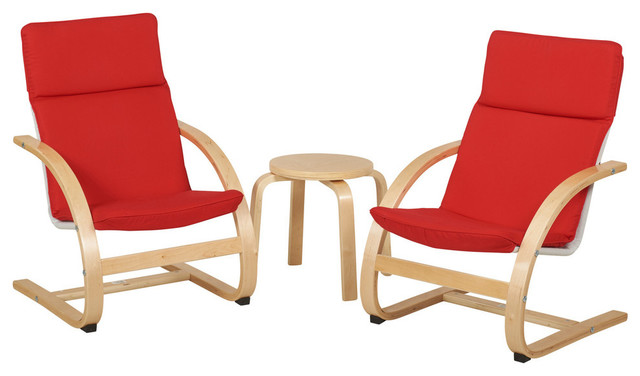 Bentwood Comfort Chair Set With Table, Red - Contemporary - Living ...