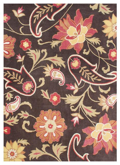Jane&x27;s Dream Floral Rug, Chocolate Brown, 8&x27;x10&x27;.