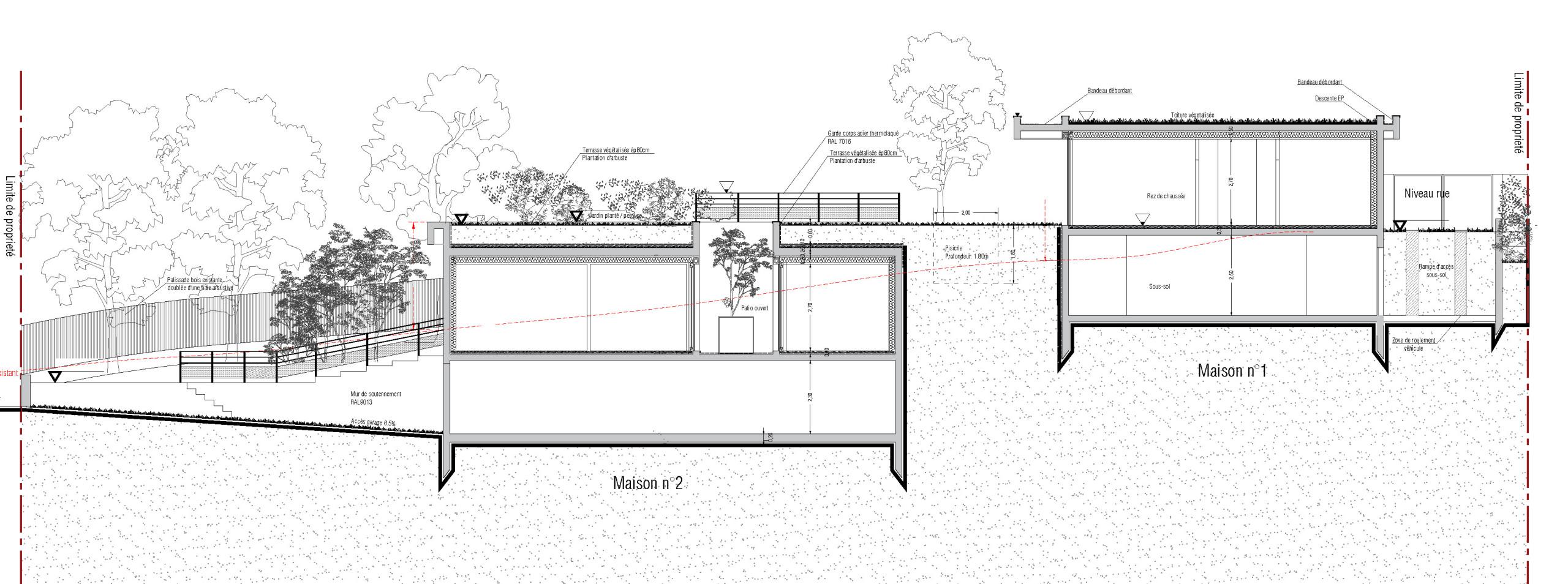 48 - HR - Construction de 2 Maisons - Subtilité de terrain