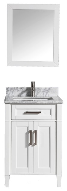 "Antoinette Marble Top Transitional Bathroom Vanity, White, 24""."