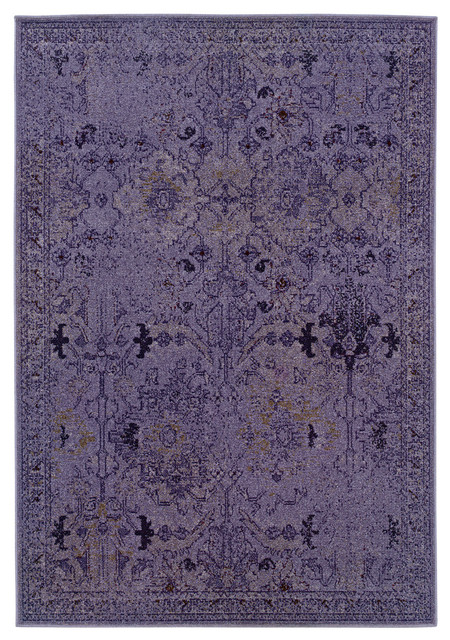"""Ophelia Overdyed Traditional Purple And Gray Rug, 3&x27;10""""x5&x27;5""""."""