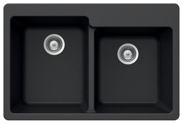 Houzer M-175 Midnite Quartztone Granite Topmount 60/40 Double Bowl Sink, Black.