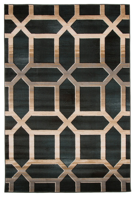 Opus Art Deco Area Rug Dark Teal By Lavish Home