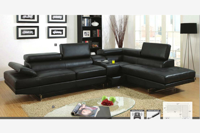 modern black leather sectional sofa couch console bluetooth speaker contemporary sectional sofas. beautiful ideas. Home Design Ideas