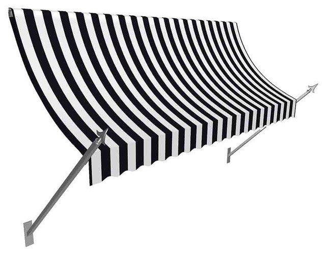 6&x27; New Orleans Spear Awning Awning, Black/white.