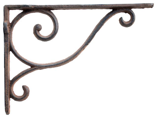 "8 BROWN ANTIQUE-STYLE 9.5/"" SHELF BRACKETS CAST IRON rustic garden FANCY ORNATE"