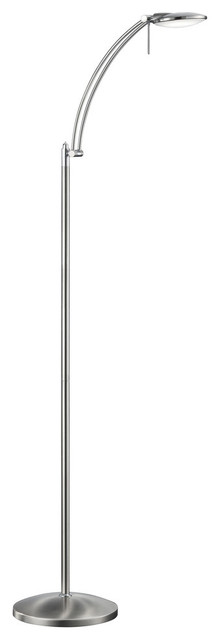 Dessau Led Floor Lamp With Adjustable Head, Nickel Matte.