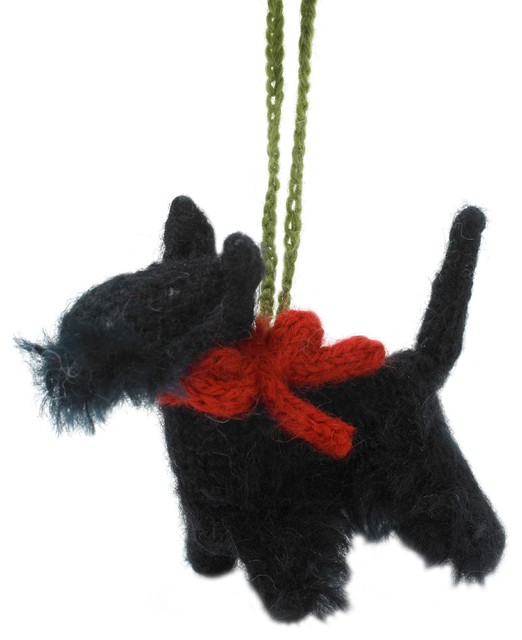 hand knit scottie dog ornament set of 2 - Scottie Dog Christmas Decorations