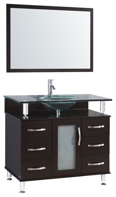 Lesscare Vanity Cabinet Lv1-36b With Sink Glass Top And Mirror.