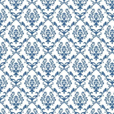 Chandelier Damask Cadet Blue Shelf Paper Drawer Liner, 36x12, Laminated Vinyl