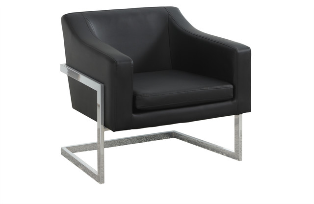 Modern Living Room Chrome Faux Leather Accent Chair, Black