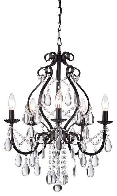 Amorette 5-Light Antique Black Candle Style Crystal Chandelier Ceiling Fixture