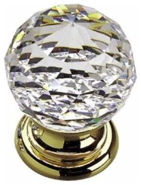 Richelieu Gold Rippled Swarvoski Crystal Knob 20mm Brass/Crystal - Contemporary - Cabinet And ...