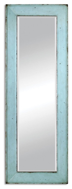 Wall Length Mirror coastal cottage blue full length mirror - farmhouse - wall mirrors