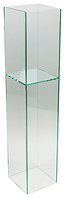 """Reversible Standing Square Clear-Cut Glass Floor Vase, 6""""x28"""""""