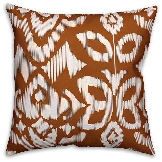 Orange Ikat Outdoor Throw Pillow Mediterranean Outdoor Cushions