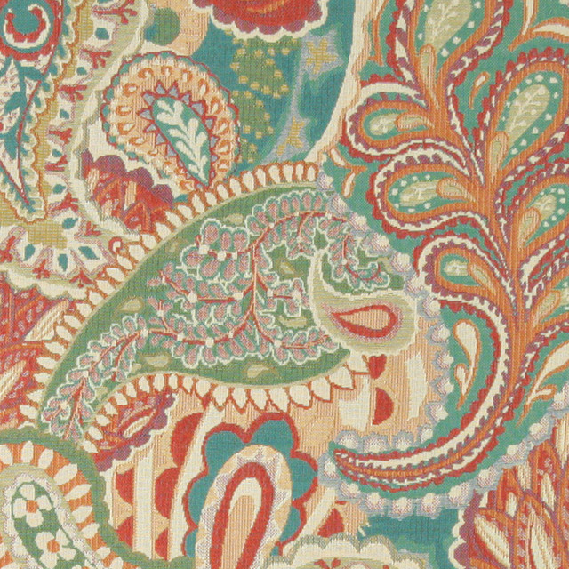 Orange, Teal, Green, Orange, Paisley Contemporary Upholstery
