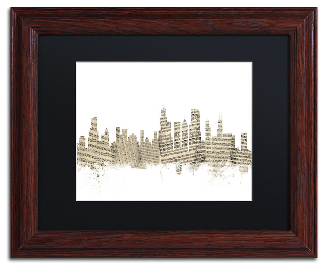 Quot Chicago Skyline Sheet Music Quot Matted Framed Canvas Art By