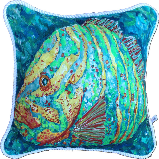 Beach Style Pillows : Striped Grouper Pillow - Beach Style - Decorative Pillows - by My Island