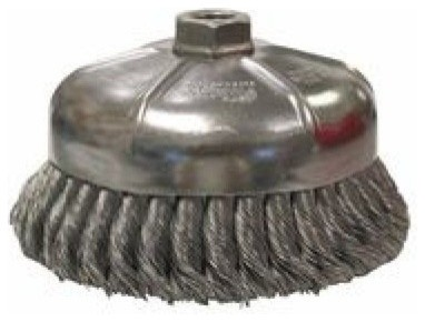 Single Row Heavy-Duty Knot Cup Brush, 6 Diameter, 5/8-11, 0.023 Steel.