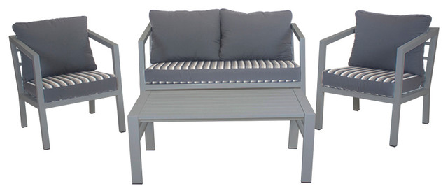 Outdoor 4-Piece Acapulco Furniture Set With 2-Seater Sofa, Silver