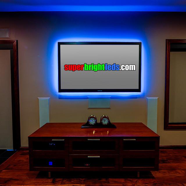 Led Entertainment Center And Media Room Lightingmodern Home Theater St Louis
