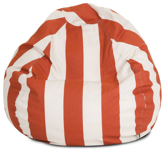 Vertical Stripe Bean Bag Chair Burnt Orange Contemporary Outdoor Lounge Chairs