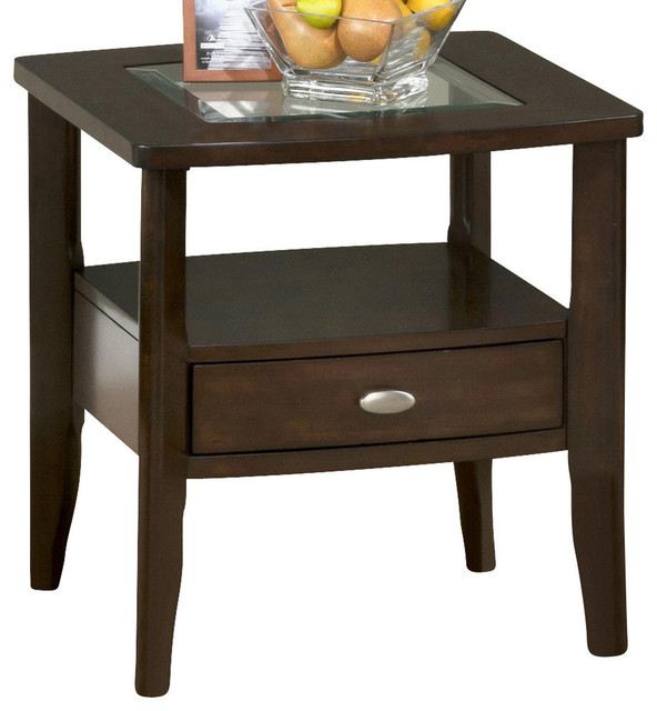 Jofran 827 3 Square End Table With Drawer And Glass Insert  Transitional Side