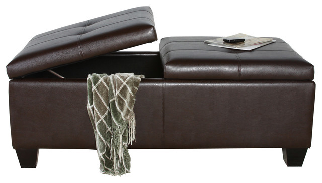Alpine Leather Storage Ottoman Coffee Table Transitional Footstools And Ottomans