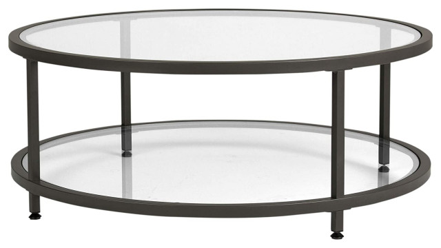 Modern Coffee Table Pewter Metal Frame, Round Metal Coffee Table With Glass Top