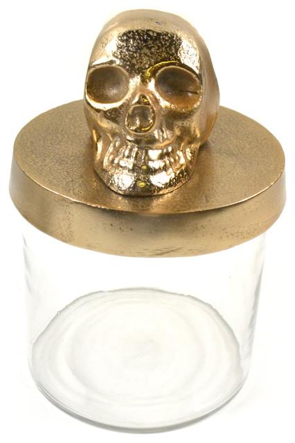 Champagne Gold Skull Canister.