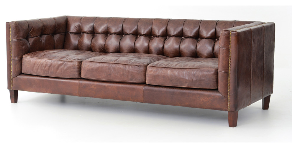 84 L Sofa Aged Top Grain Leather