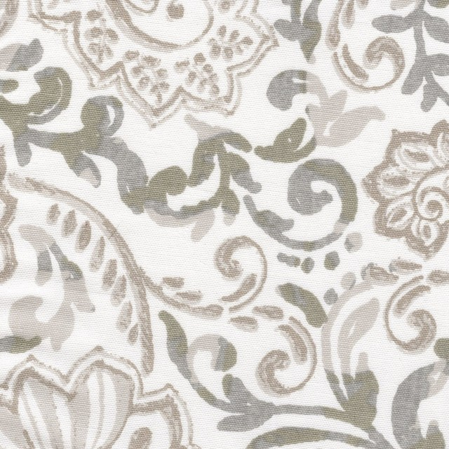 Tailored Valance Shannon Ecru Taupe Floral Paisley Lined Cotton.