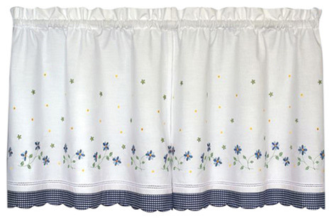 "Gingham Blue Floral Kitchen Curtain, 36"" Tier."