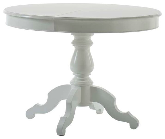 Extendable Round Dining Table, White