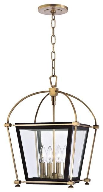 Hollis 4-Light Pendants, Aged Brass.