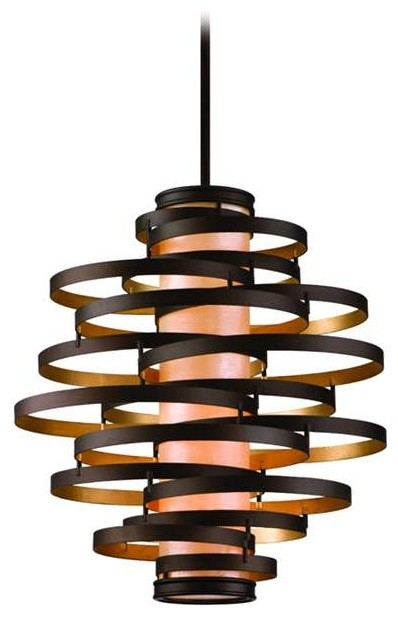 Corbett Vertigo 4 Light Pendant In Bronze / Gold Leaf.