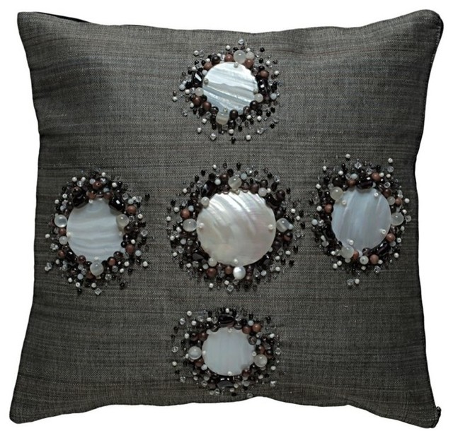 decorative pillow cover with kabibe seashell and beads black contemporary decorative pillows - Black Decorative Pillows