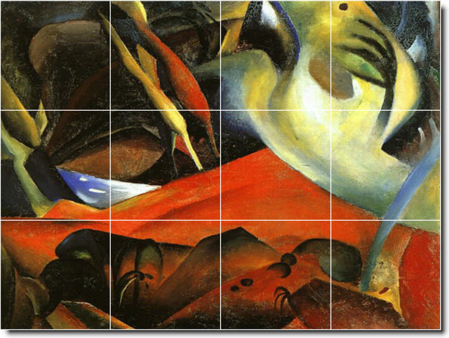 August macke abstract painting ceramic tile mural 8 for Ceramic mural painting