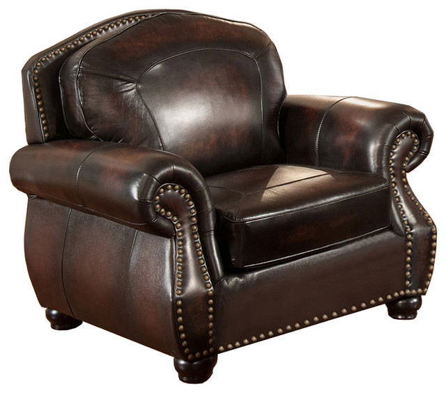 Hyde 100 Leather Armchair Burgundy Brown Traditional