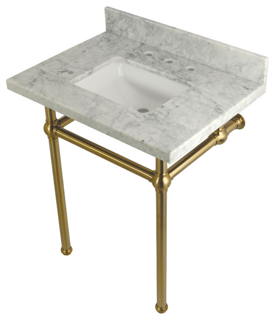 "30""x22"" Carrara Marble Vanity With Sink and Brass Legs"