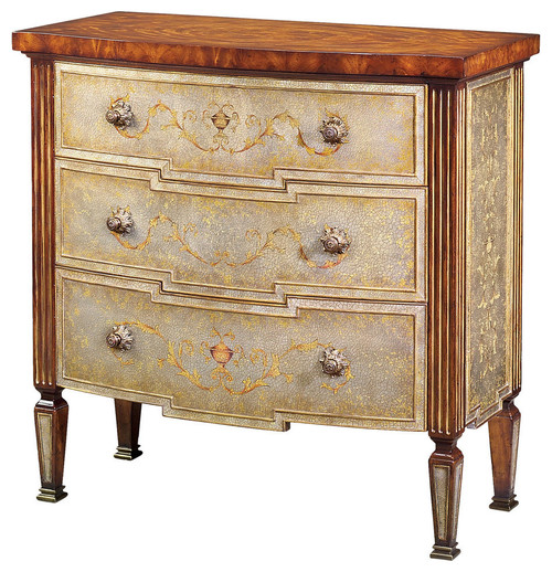 Louis XVI Flame Mahogany and Silvered Verre Eglomise Chest