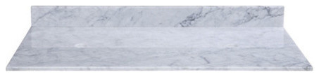"""Stone Top, 61"""" For Double Vessel Sinks With Backsplash, Carrera Marble"""