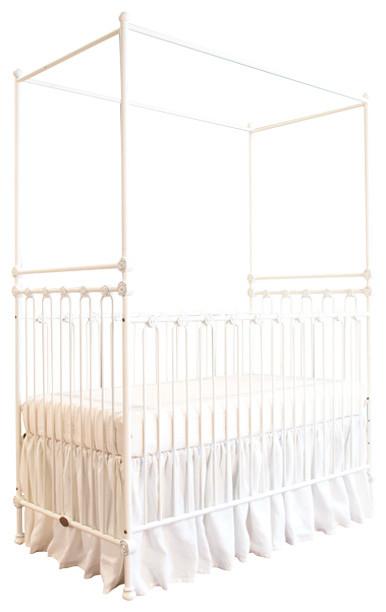 Bratt decor inc joy canopy crib distressed white cribs for White canopy crib