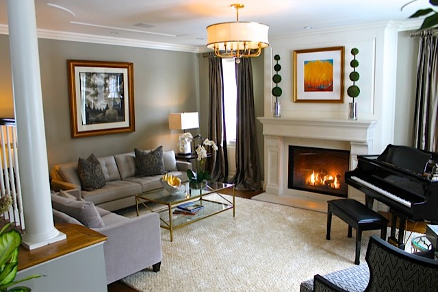 Warm inviting transitional living music room for Warm inviting living room ideas