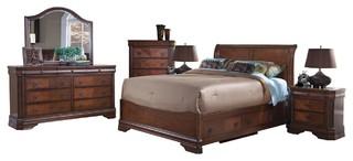 Savona Storage 6-Piece Cal King Bed, Nightstands, Dresser, Mirror, Chest, Cherry
